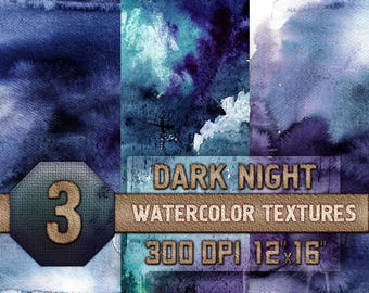 Watercolor Scrapbooking Textures 3 Dark Night Digital Papers - Blue, Purple, Teal, Digital Download, 300 dpi 12x16 inches, Instant Download