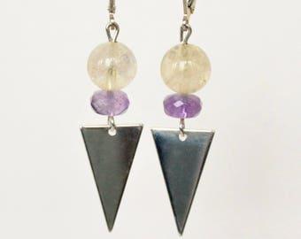 Art deco Amethyst Citrine gemstones semi precious purple earrings sleepers beads semi precious stones
