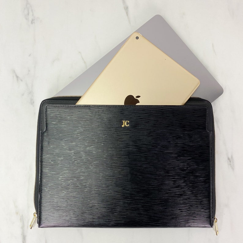 Epi Leather personalise customise tablet Valerie Constance Monogram Hot Stamp 13 Laptop Macbook Pro Air iPad Case Sleeve Combo