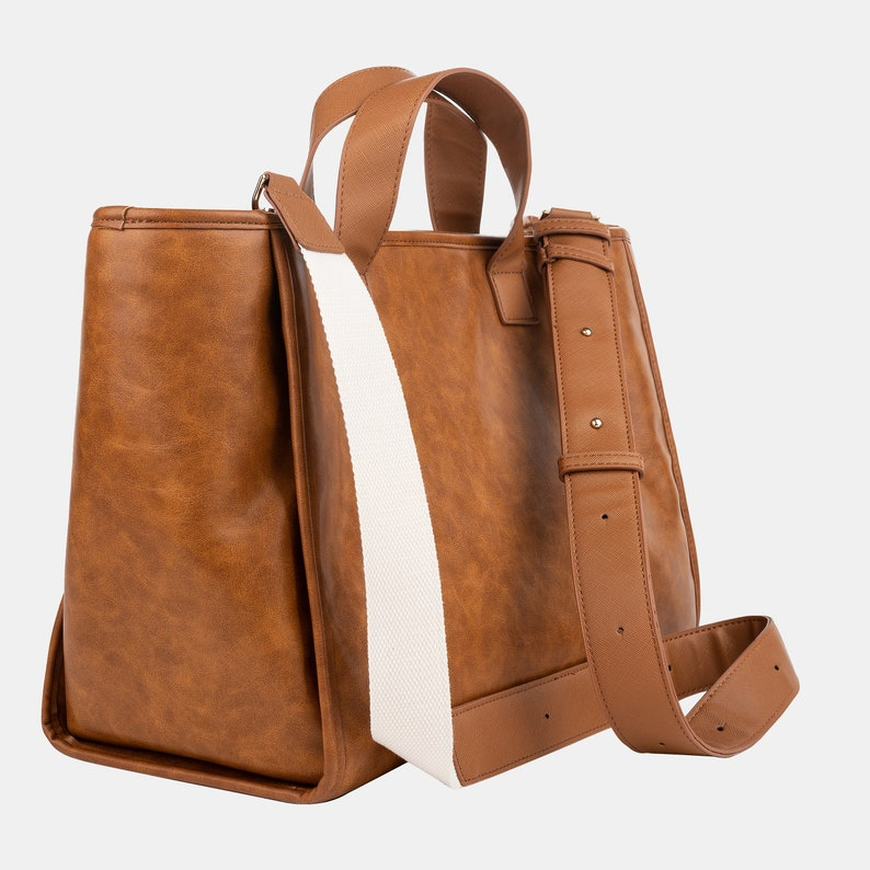 Gold Hardware Rustic Brown Leather Tote Bag Waterproof Diaper Valerie Constance Customizable Strap Options Canvas Leather Chain