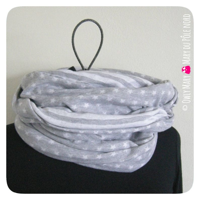 Snood adult woman male teen lined sailor stripe star gray image 0