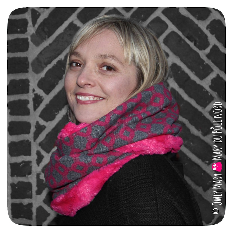 Snood adult double wool Heather grey/pink fuchsia lined faux image 0