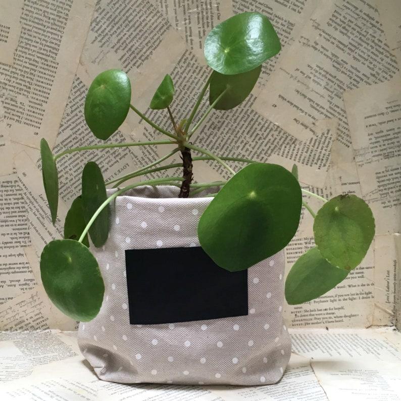 Round coated cotton flower-pot dots white grey beige linen image 0