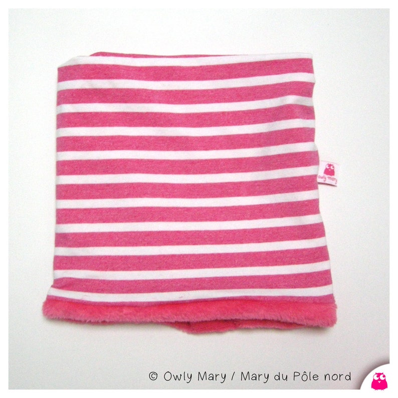 Snood for children sailor marine striped stripes pink white image 0