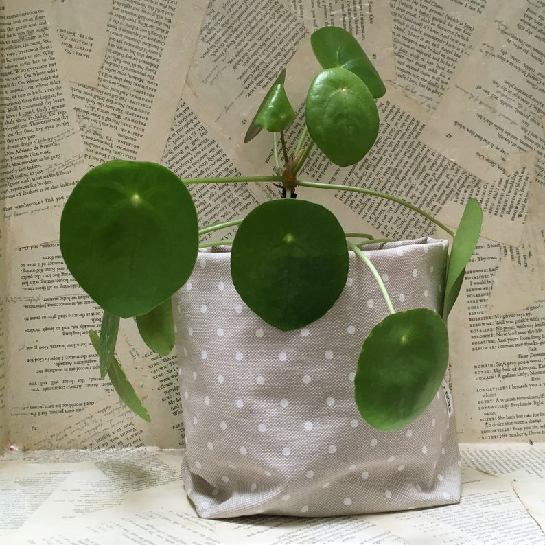 Small pot made of cotton coated round polka dot gray white image 0