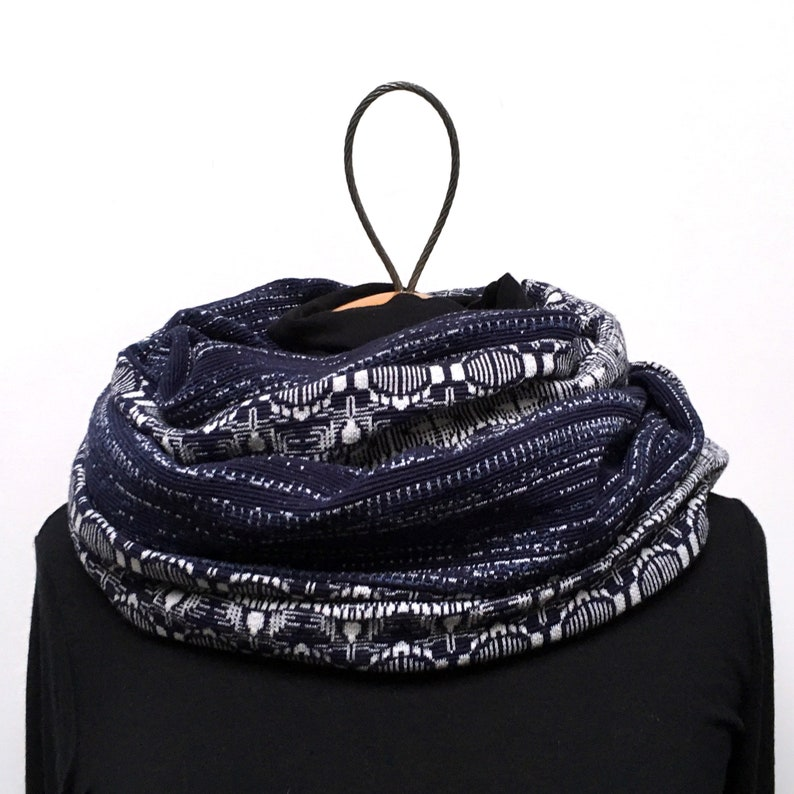 Snood reversible woman double man mixed navy jersey synthetic image 0
