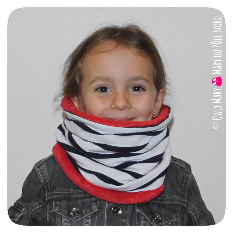 Child Snood joint boy girl stretchy reversible Choker polar image 0