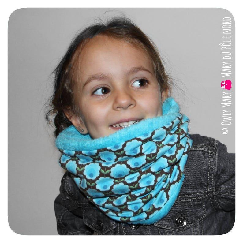 Snood child girl stretch Choker fleece blanket blue Brown image 0