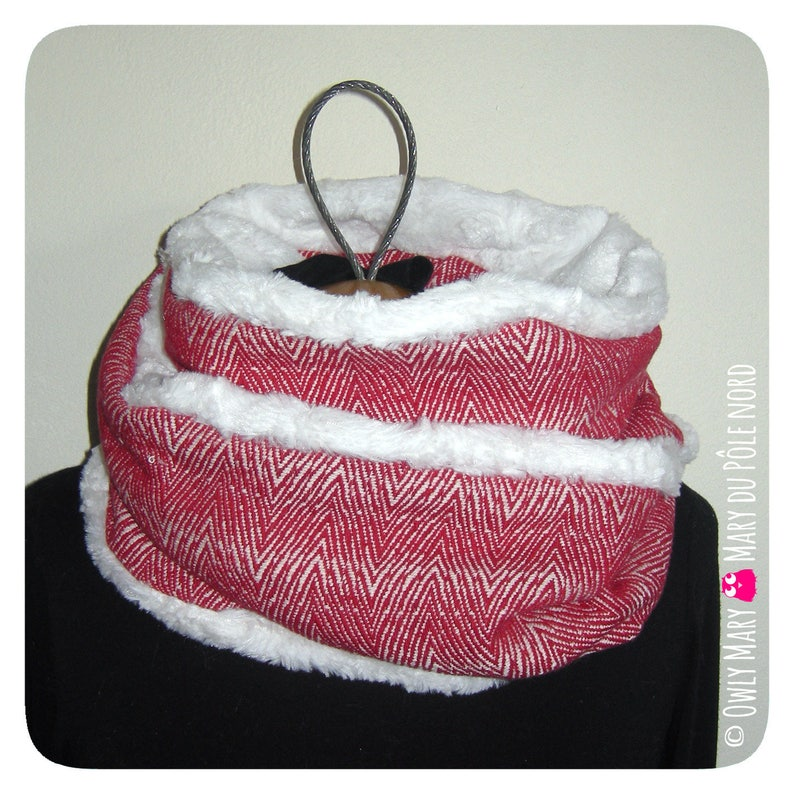 Snood adult teen red white geometric chevron wool lined 2 image 0