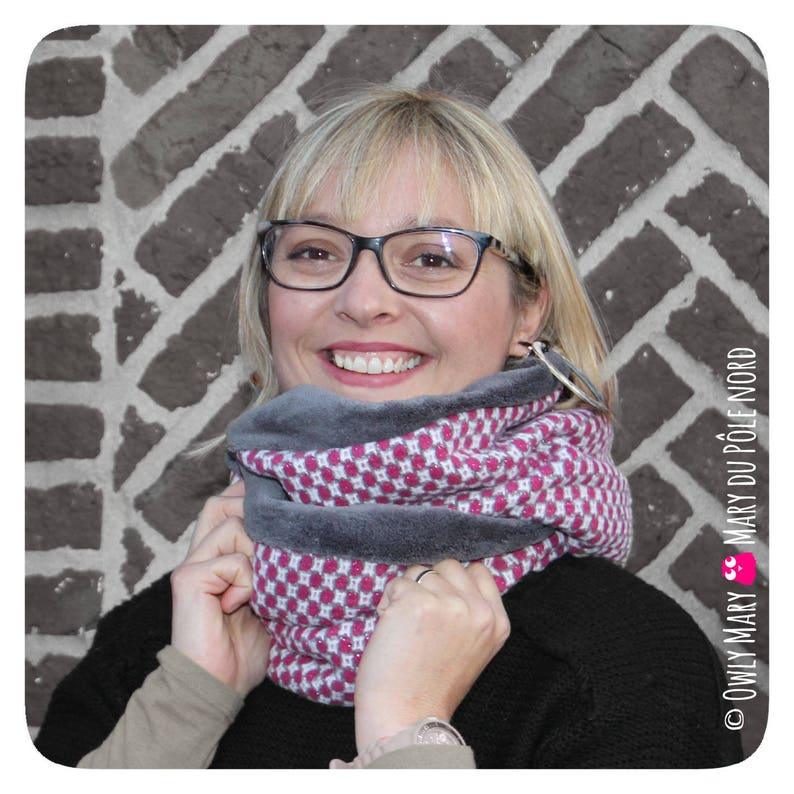 Snood adult teen pink black white silver lined 2 round image 0