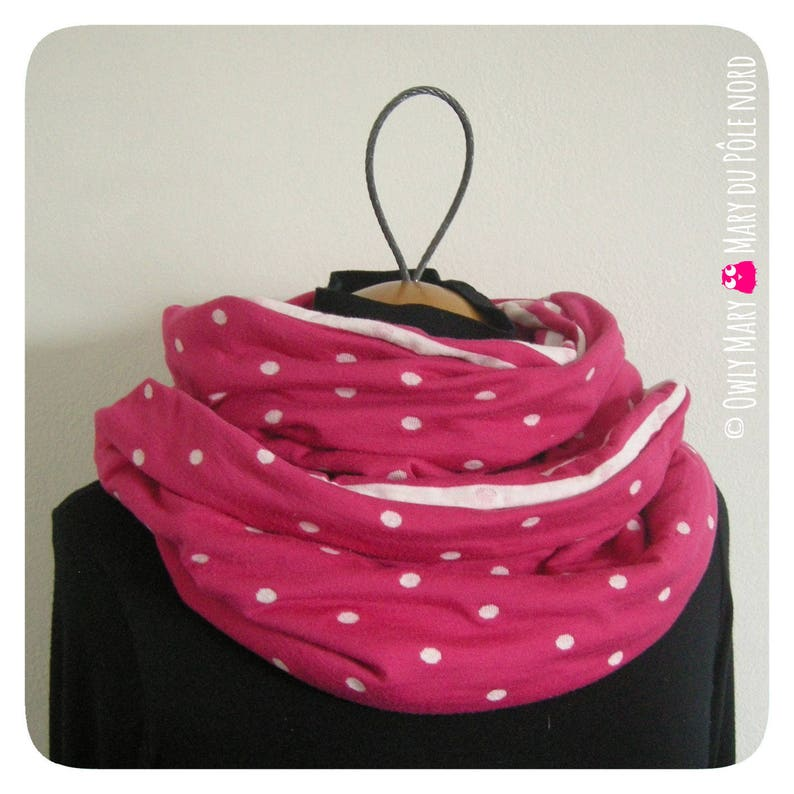 Snood teen woman lined sailor striped pink polka dots fuchsia image 0