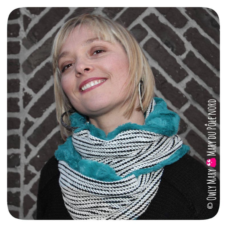 Snood adult teen doubled 2 mesh sweater black white teal fur image 0