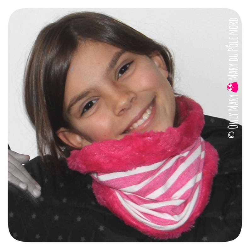 Child Snood neck faux fur lined jersey girl pink flashy image 0