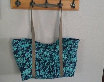 Blue flower tote, handbag, duffle