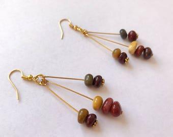 Handmade Earrings, Stone Earrings, Artisan Earrings, Natural Earrings, Jasper Earrings, Moukite Jasper, March Birthstone, Natural Stone