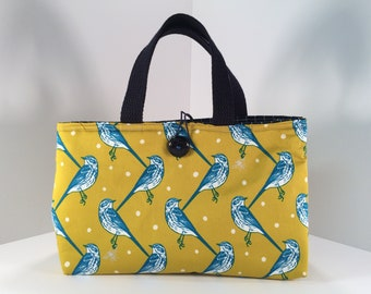 Japanese Silk Blend Lunch Bag -- Birds and Bees