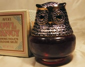 Avon Owl Fancy Raining Violets Cologne Gelee thick liquid 1974 3-3 4 inches tall 3 inches diameter 4 oz. Full bottle Sale InonasCosmetics