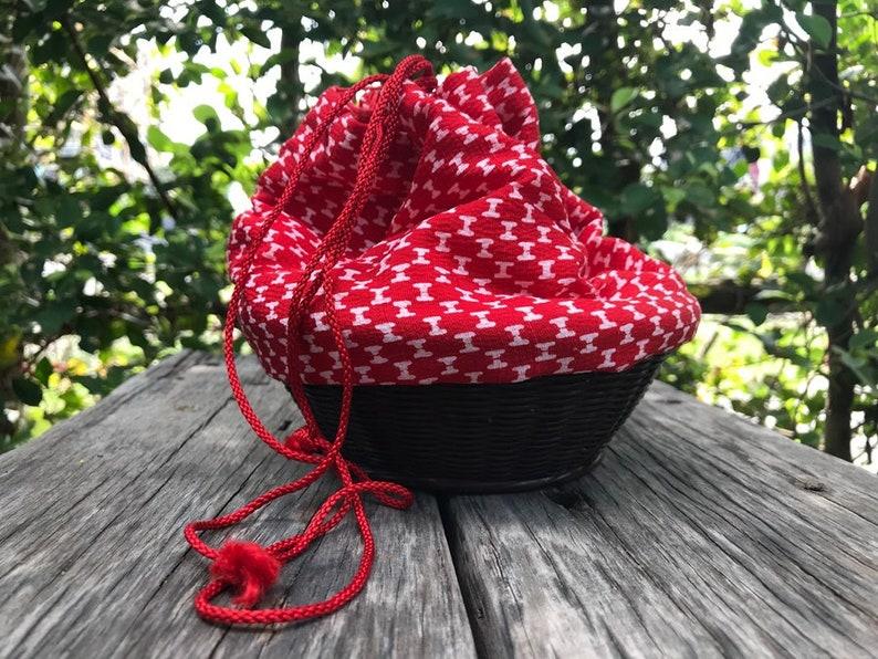 Vintage Japanese Kinchaku bag rounded shape Basket bag