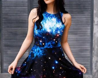 Nebula galaxy dress, celestial skies inspired space stars cosmic coachella outfits fashion
