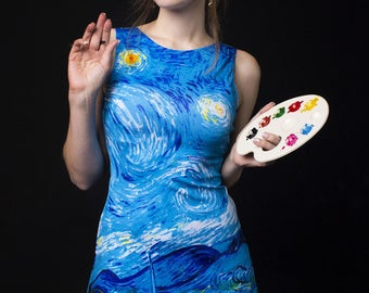 Vincent van Gogh Starry Night oil canvas painting dress galaxy paint space
