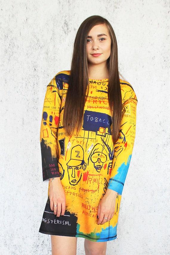 Jean Gemalde Gelbe Kleid Ubergrossen Neopren Stoff Etsy