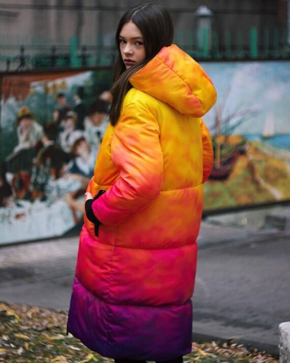 art graffiti oversized full print outerwear watercolor pattern Jacket fire long winter ombre street warm puffer wear gradient UNISEX nf7qxPI