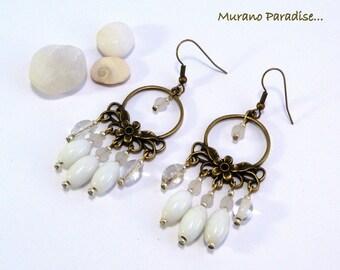 Earrings chandelier white pearls and bronze flower