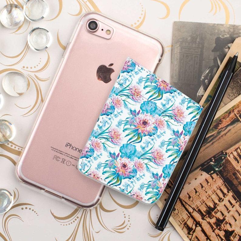 Lily Pocket Card Holder Leather Holder iPhone Card Holder ID Holder Leather Wallet Card Pocket Flower Pocket Credit Card Holder CGD2207