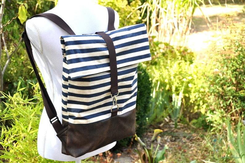 Elin-backpackstripeblue white Brown