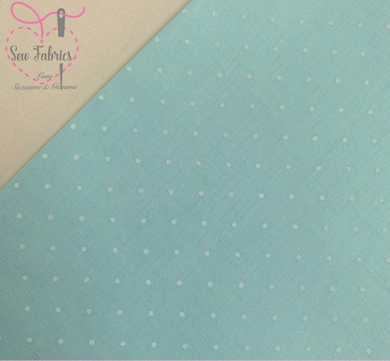 Per Metre Pastel Mint Green Polycotton Fabric with Small White Polka Dots