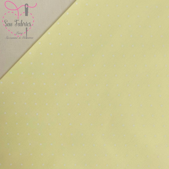 Light Ivory Polka Dot Polycotton Fabric with Roses Various Colours Per Metre