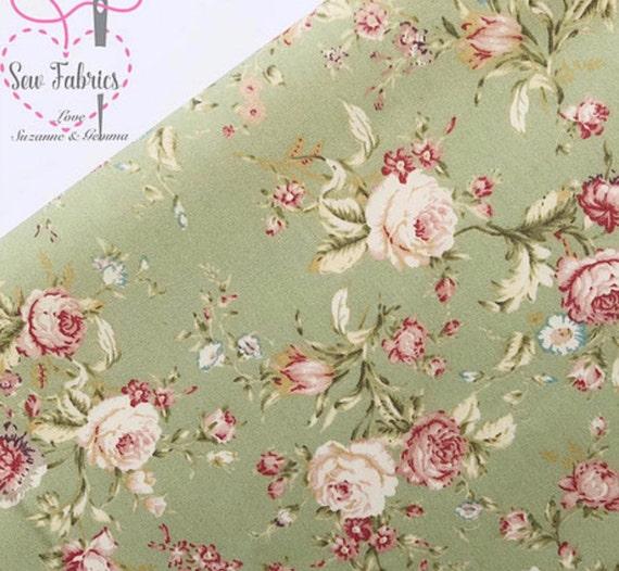 100/% Cotton Fabric Bundle Fat Quarters Vintage Pink Roses Spots Craft Floral