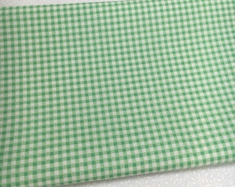 100% Cotton Fabric, Fat Quarters, Mint Green, Gingham Check, Rose & Hubble, Vintage, Sewing, Quilting, Craft, Applique