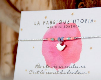 Children's bracelet, knotted, bird, pastel beads, silver cord