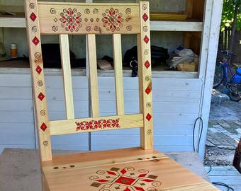 Wood chair painted by hand