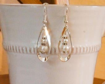 Drop earrings silver ivory