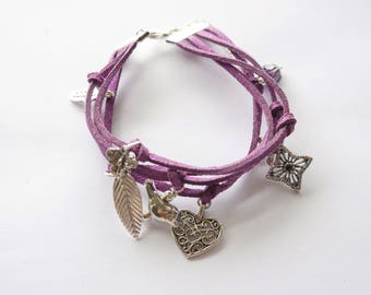 Purple suede MULTISTRAND bracelet with silver charms