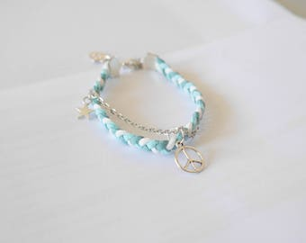 braided suede bracelet turquoise blue and white
