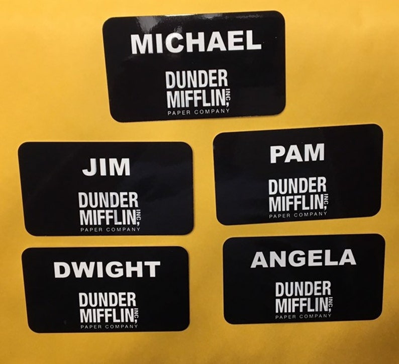 picture regarding Dunder Mifflin Name Tag Printable referred to as Dunder Mifflin (The Business) Reputation Tags