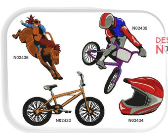 e612135208ff BMX Bicycle Motocross Rodeo Bull Riding Helmet Bike Extreme Sports Machine  Embroidery Design SET of 4