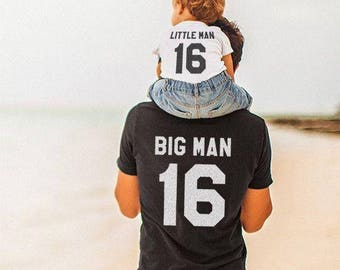 Funny Gift Set Father Gift Big Man Mens T-Shirt and Baby Romper Little Man