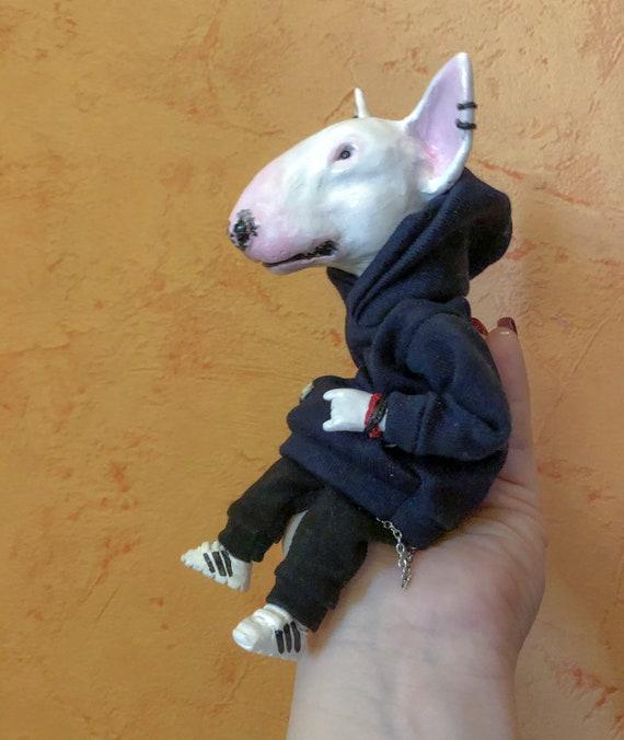 """Bull Terrier Dog Brindle Figurine Ornament Angel 2/"""" Miniature Figure Tiny Ones"""