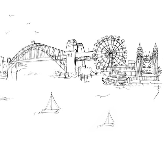 Sydney Sketched Skyline in 2020   Converse design, White