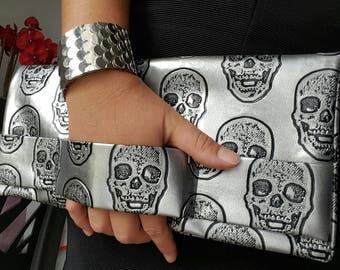 handmade silver grey skull pouch