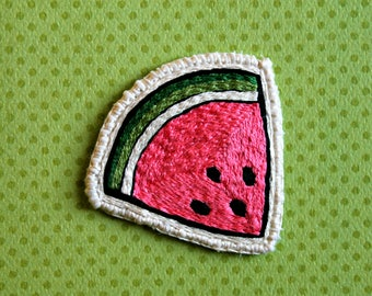 Watermelon Patch // Hand Embroidered Sew-On Patch