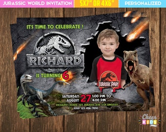 Jurassic World Invitation Park Invite Photo Digital Birthday Children Printable Card Custom