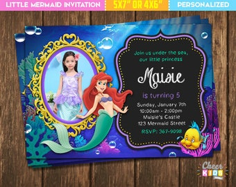 The Little Mermaid Invitation Invite Ariel Digital Birthday Custom Made Printable Card