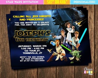 Star Wars Invitation, Star Wars Clone Wars Invite, Digital Birthday  Invitation Children, Custom Made Printable Card   Cheer 05