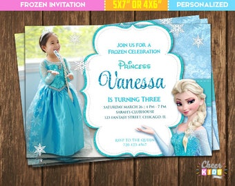 Frozen Invitation Elsa Invite Picture Digital Birthday Custom Made Printable Card