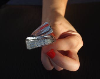 "Ring (O 55) ""Facets"" transparent with silver, simple and Chic but especially... Unbreakable!"